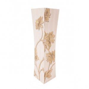 Дървена ваза в бяло и крем със стилизирани цветя Н40см на Промо Цена с Бърза Доставка, Мнения, Препоръки, Клиентски Ревюта и Отзиви от Saksiika.com